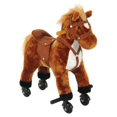 Qaba Plush Walking Horse Toy with Wheels and - The Plush Horse