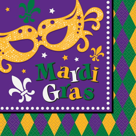 Masquerade Mardi Gras Party Lunch Napkins, 16ct - Marsi Gras