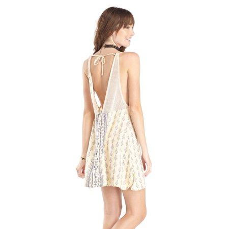Dresses Promotion (Lagaci Damask Engineer Print Tank Dress w V-Cut Mesh Tie Back, Natural)