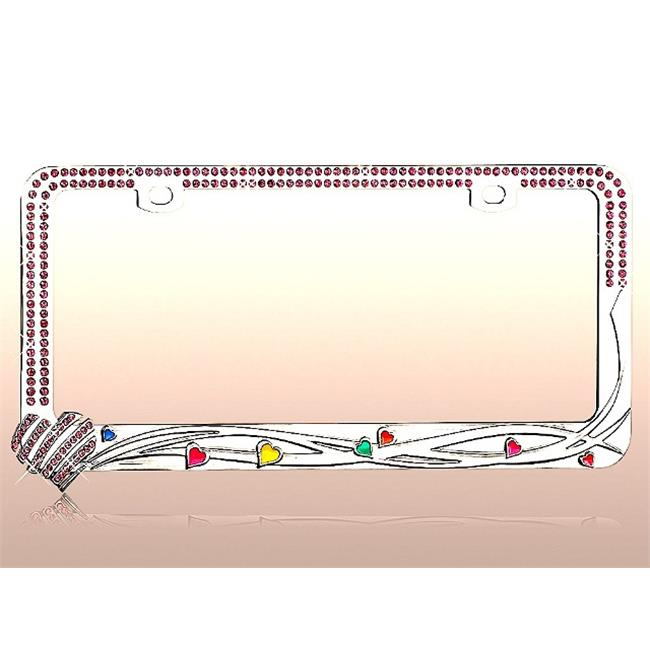 CarLashes®  LPF2MC008PNK License Plate - Studded with sparkling pink crystal