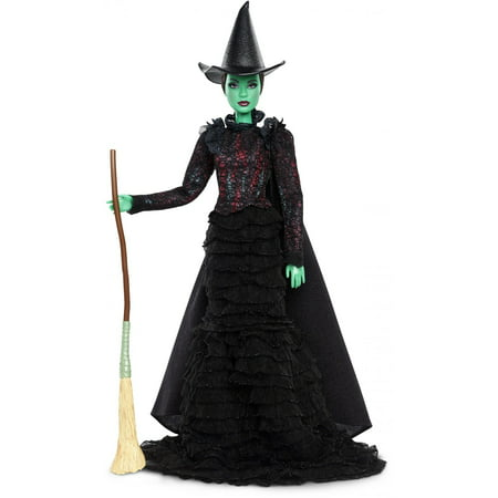 Barbie Wicked Elphaba Doll in Act II Costume with Hat & Broom - Barbie Ideas For Costumes