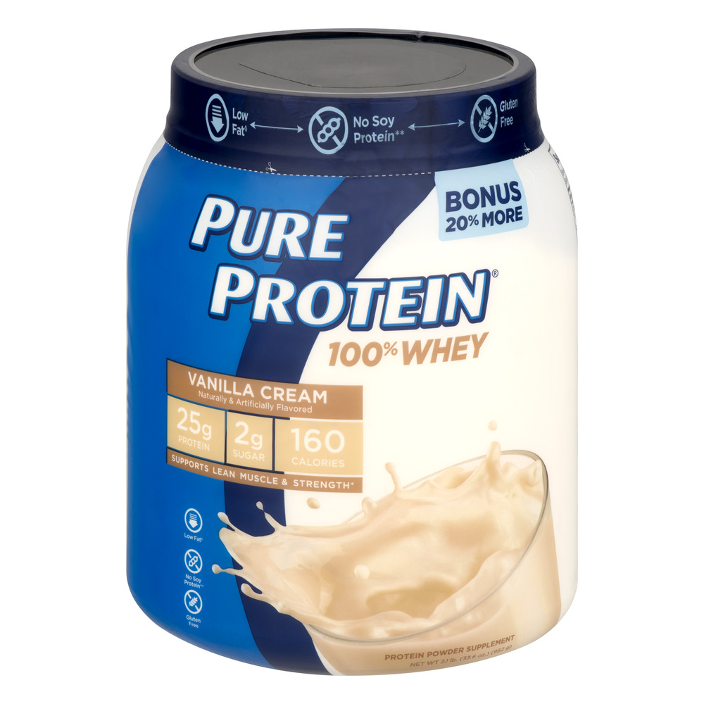 Pure Protein Vanilla Cream 100% Whey Protein Powder Nutritional Supplement, 28 oz