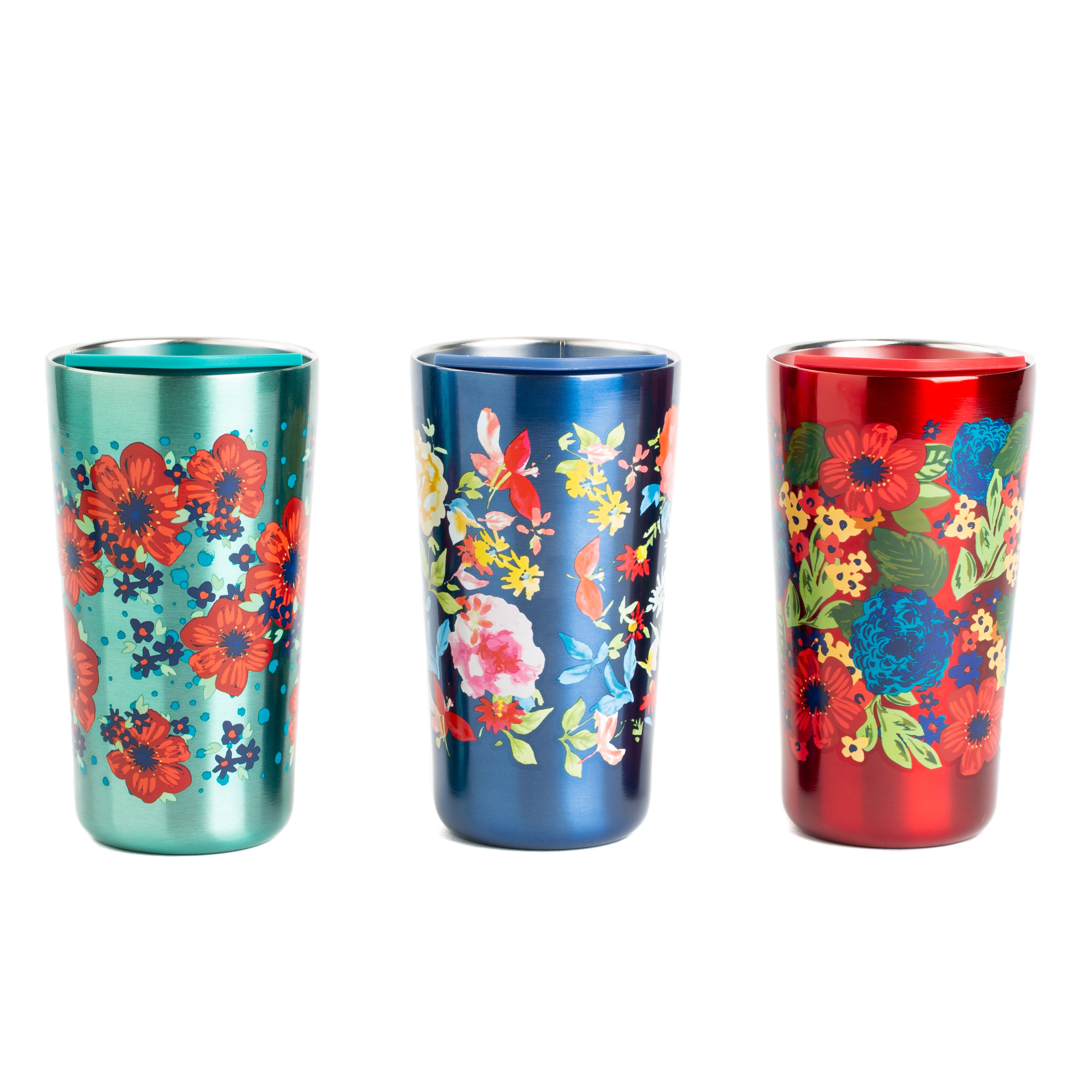 The Pioneer Woman Red, Navy, Teal Steel Floral Stainless Tumbler, 3 Piece