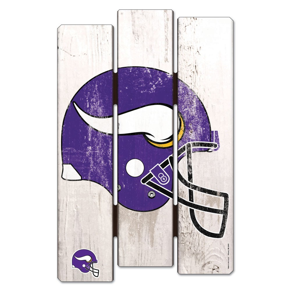 Minnesota Vikings Official NFL 11 inch  x 17 inch  Wood Fence Sign by Wincraft