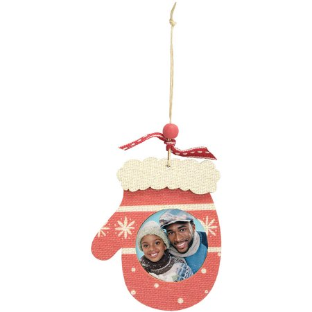 Wooden Ply Photo Ornament - Mitten - Wooden Photo Ornaments