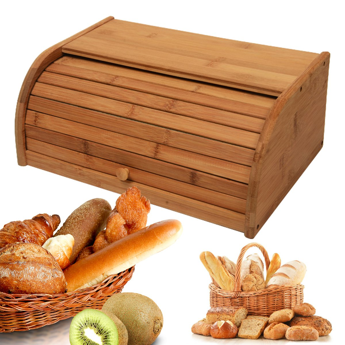 Bamboo Wooden Roll Top Bread Bin Loaf Container Home Kitchen Food