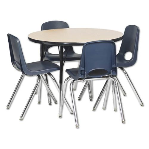 5-Pc Round Activity Table and Chair Set in Oak and Black (Standard: 36 in. W x 36 in. D x 19 in. - 30 in. H)