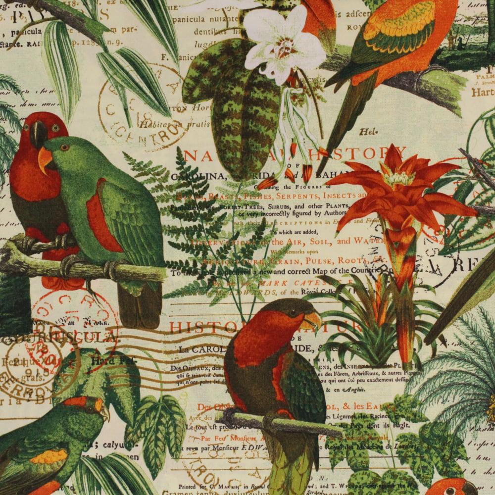 "Berkshire Home 100% Polyester 54"" Parrot Jungle Indoor & Outdoor Fabric, per Yard"