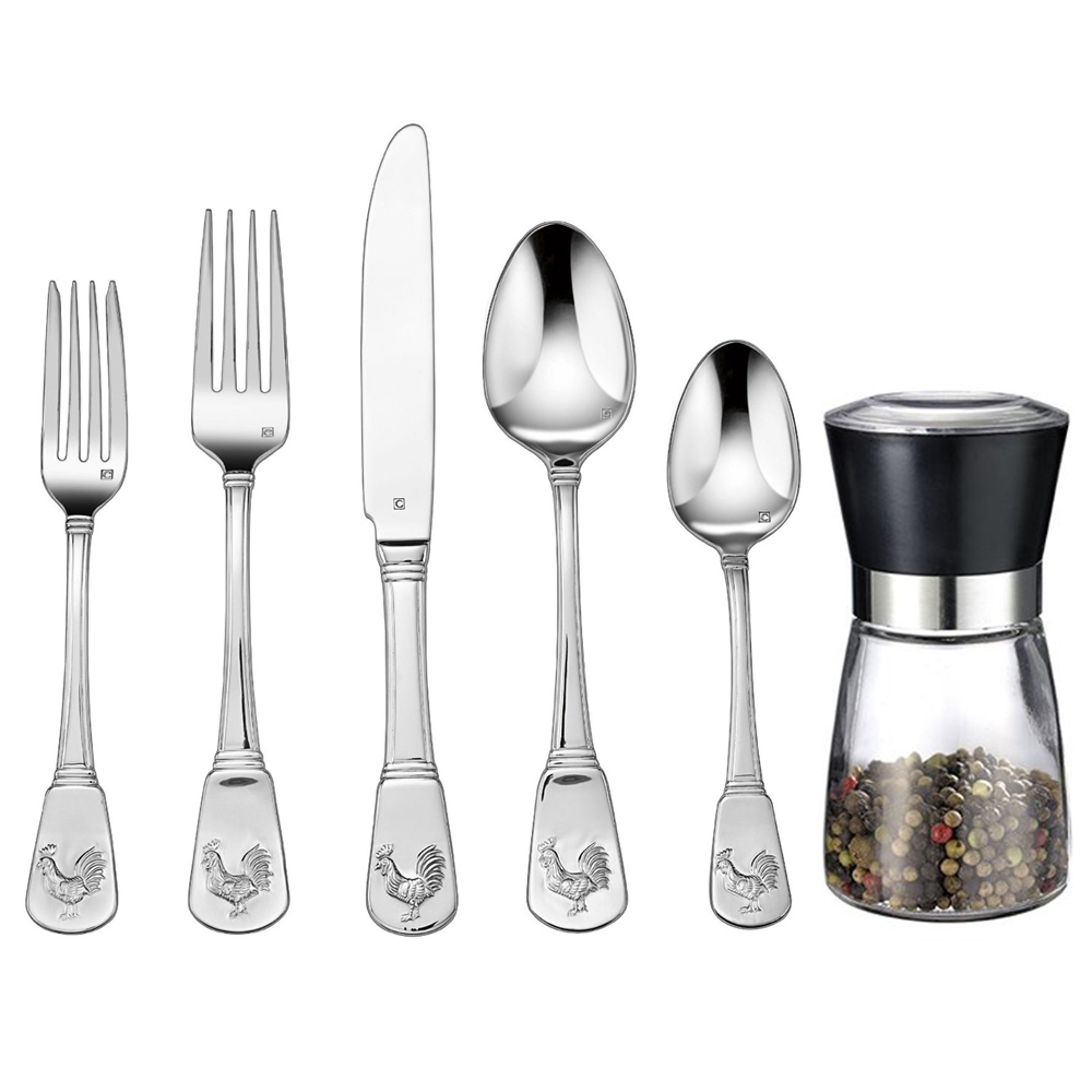 Cuisinart 20-Piece Flatware Set, French Rooster (CFE-01-FR20) with Deco Gear Spice Mill