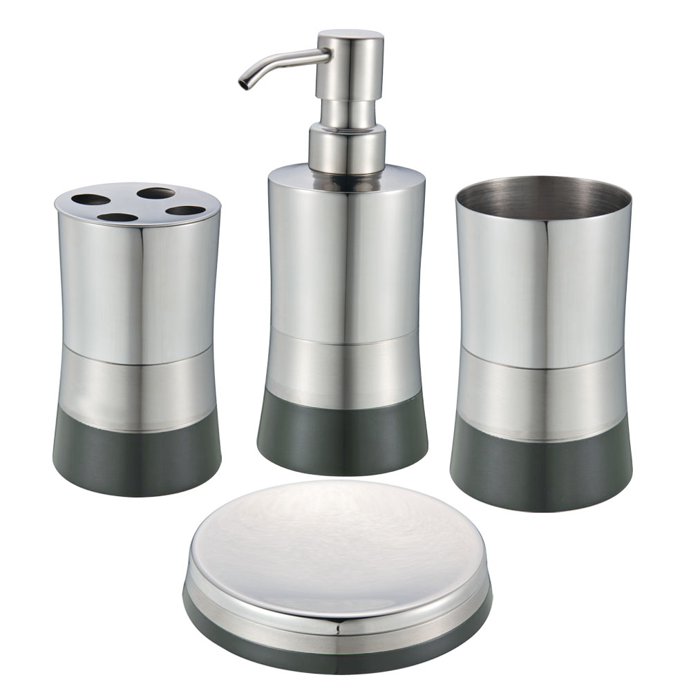 Onyx/Graphite Stainless Steel Bath Set: Soap Dispenser, Toothbrush ...