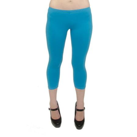 Vivian's Fashions Capri Leggings - Cotton, Misses Size (Turquoise, - Pink Tights Womens