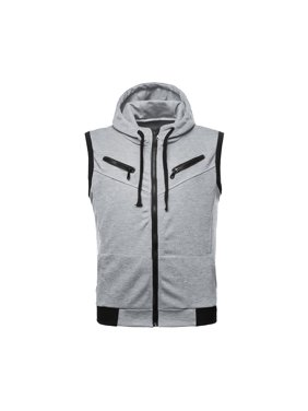 b51334814027 Product Image Azzuro Men s Zip Fastening Hoodie Vest with Ribbed Trim Gray  (Size L ...
