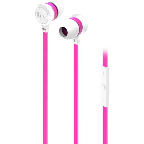 iLuv IEP335WPKN Neon Sound High Performance Earphones, White/Pink