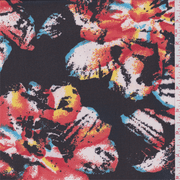 Black/Coral Multi Floral Print Chiffon, Fabric By the Yard