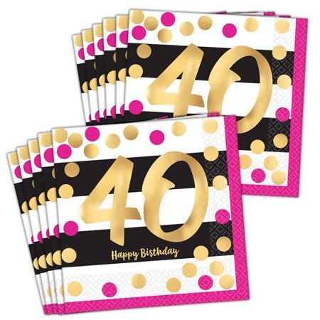 Pink & Gold 40th Birthday Lunch Napkins - 40th Napkins