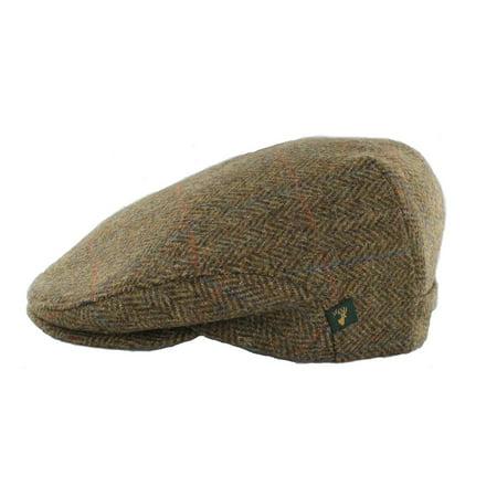 ireland wool hat tweed cap for men brown herringbone made in ireland (Men In Tweed)