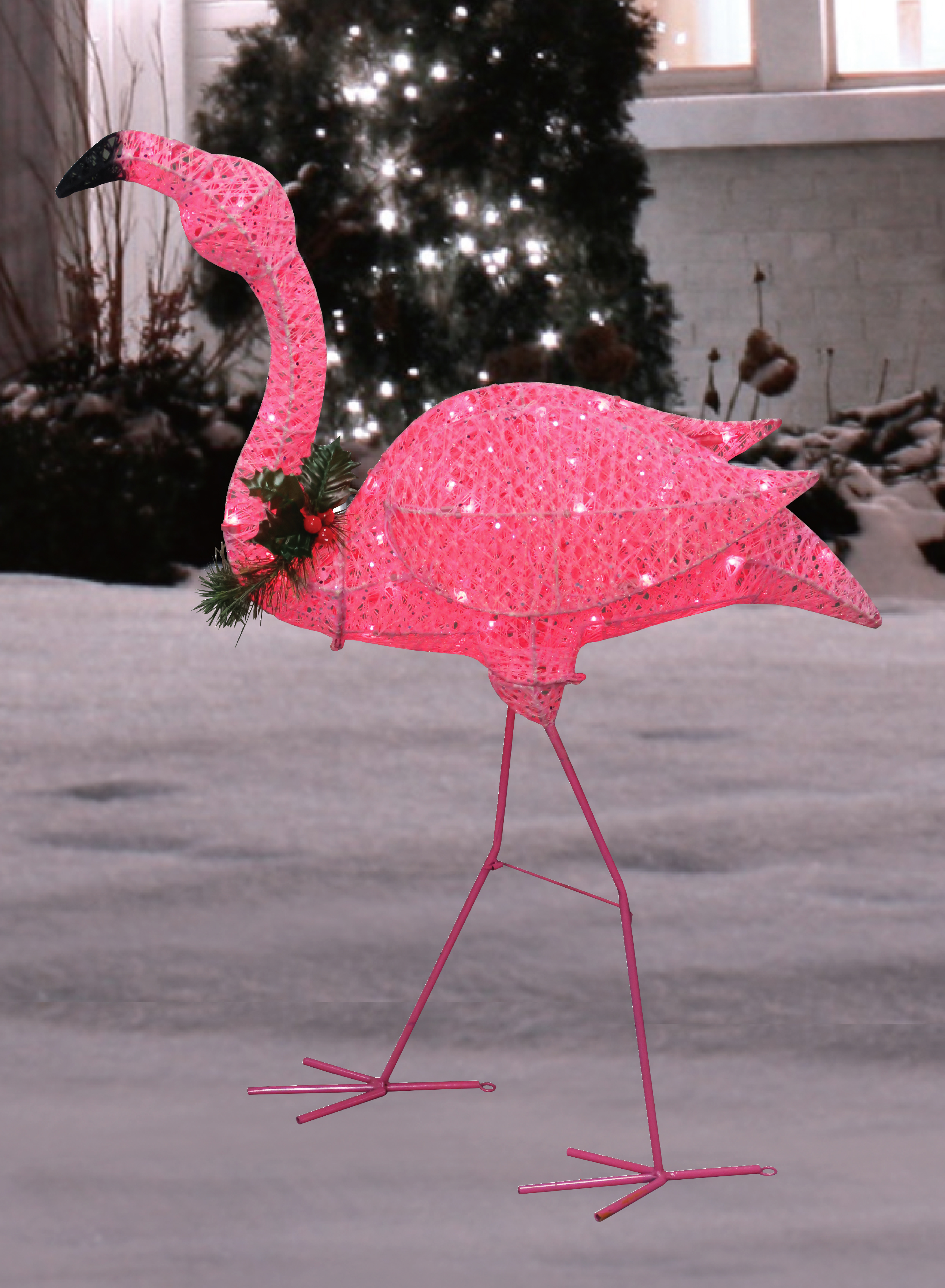 3 Glittery Pink Flamingo With Holly And Berry Outdoor Yard Decoration