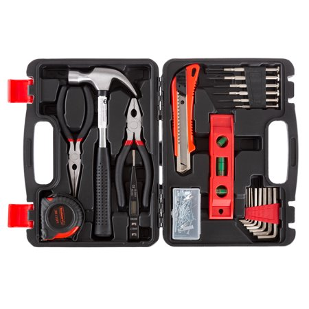 Tool Kit - 102 Heat-Treated Pieces with Carrying Case - Essential Steel Hand Tool and Basic Repair Set for Apartments, Dorm, Homeowners by Stalwart (Dorm Tool Kit)