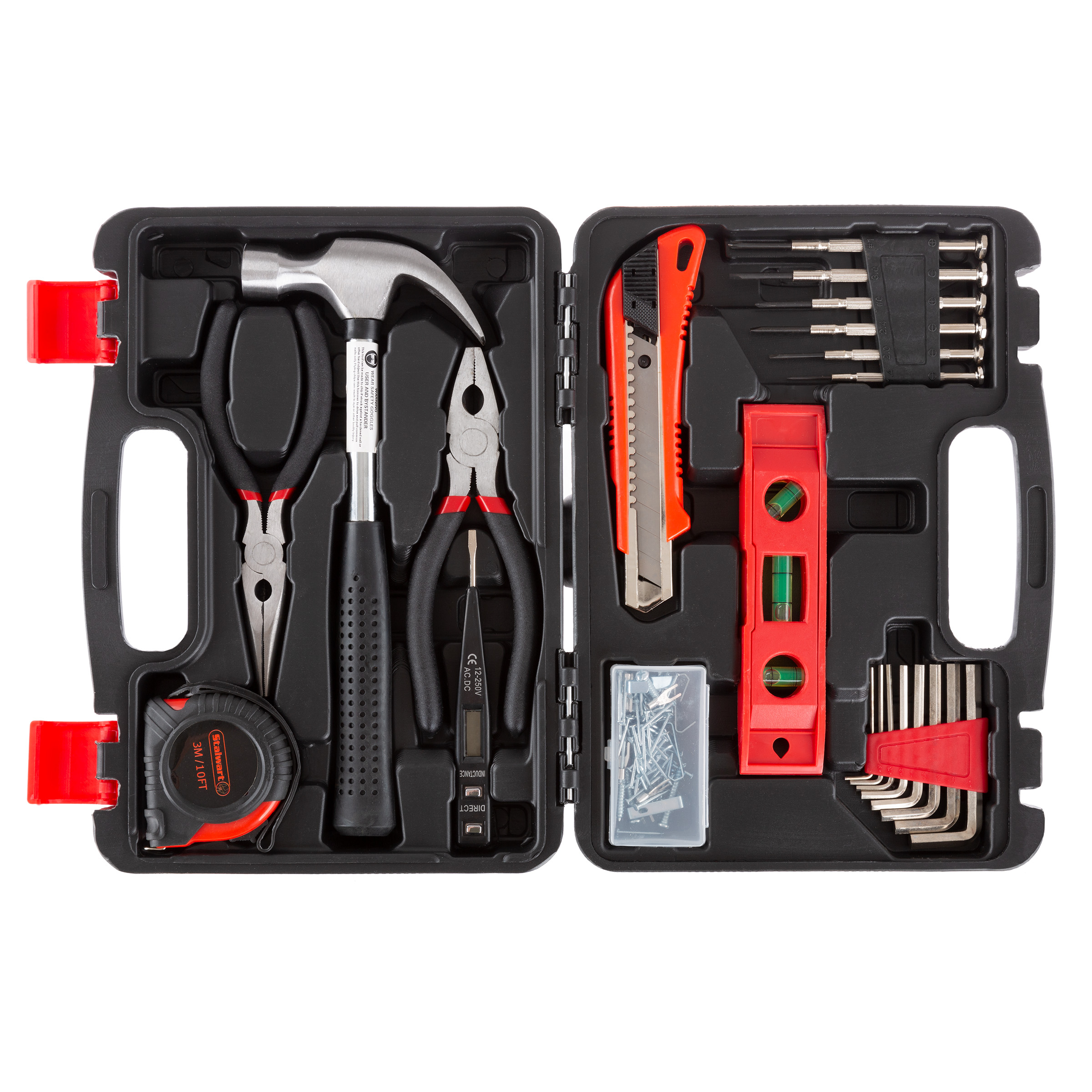 Tool Kit - 102 Heat-Treated Pieces with Carrying Case - Essential Steel Hand Tool and Basic Repair Set for Apartments, Dorm, Homeowners by Stalwart