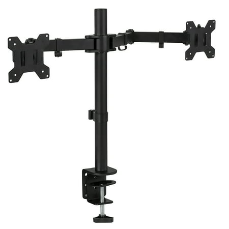 Mount-It! Dual Monitor Desk Stand Mount for Computer Monitors Two Arms Clamp, Fits up to 13 to 27 Inch Screens (MI-2752) (Desk Mount Monitor Stand 27 Inch)