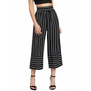Womens Wide Leg High Waist Casual Summer Striped Pants Loose Culottes Trousers #900