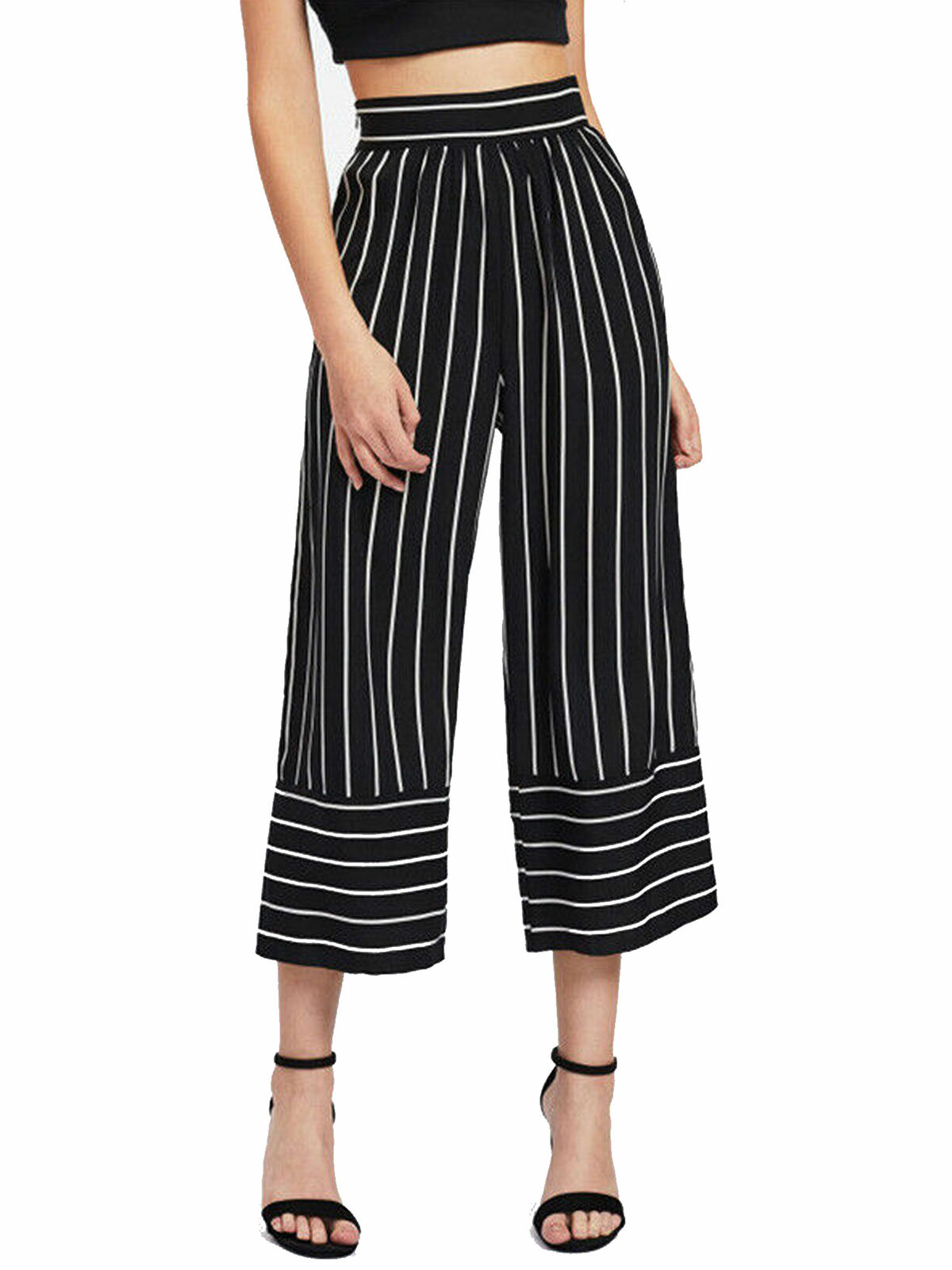 Womens Candy Striped Culotte Pants Wide leg Cropped New Multi Coloured Trousers
