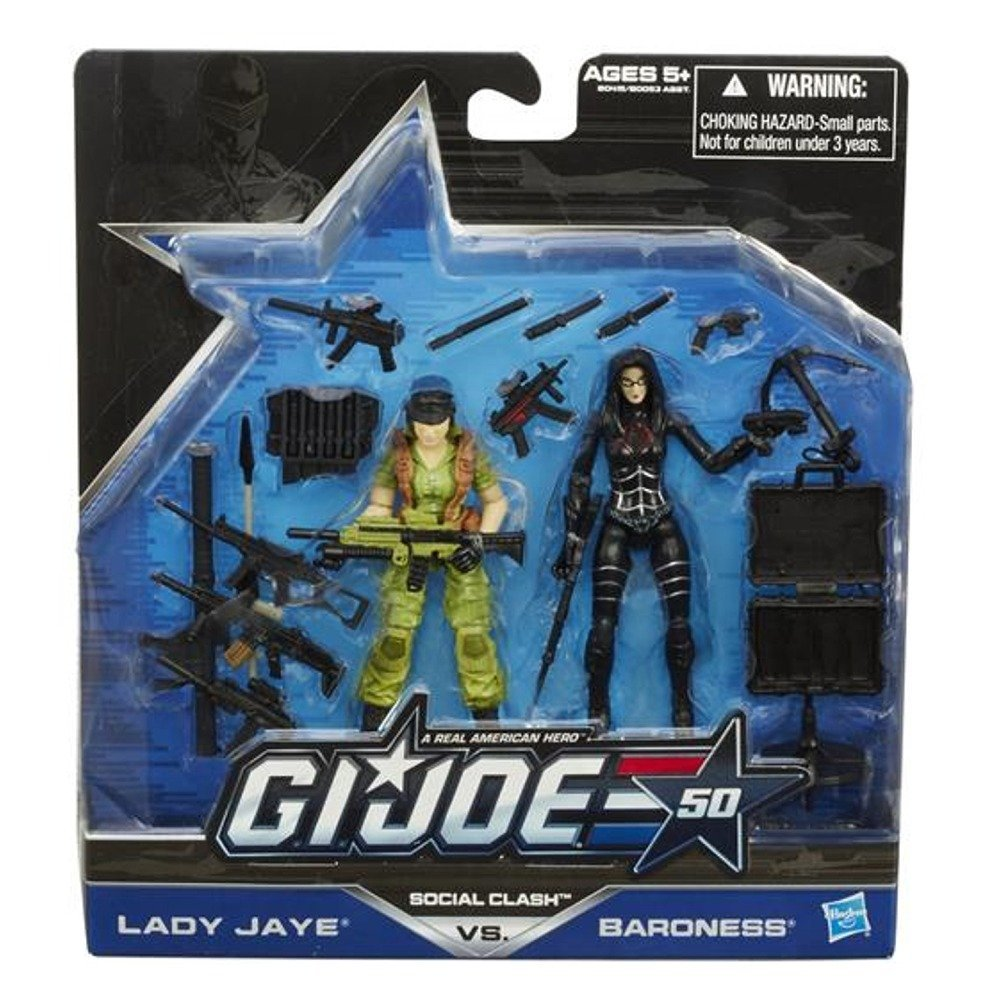 G.I. Joe, 50th Anniversary Action Figure Set, Social Clash [Lady Jaye vs. Baroness], 3.75 Inches, By Hasbro Ship from US