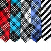 TopTie Wholesale Lot Mens 5 Skinny Neck Tie New Necktie, Plaid Neckties