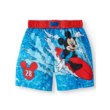 Mickey Mouse Board Short Swim Trunks (Toddler Boys)
