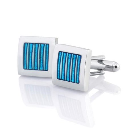 New Classic Men`s Wedding Party High Quality Smooth Cufflinks Square Cuff Links - Blue/Silver Square