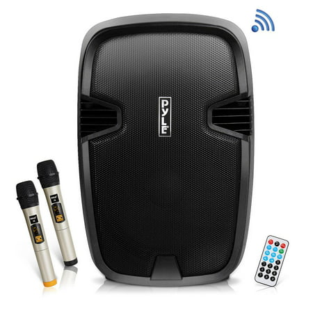 PYLE PPHP1235WMU - Portable Bluetooth PA Speaker System, Built-in Rechargeable Battery, Includes (2) UHF Microphones, MP3/USB/SD Readers, FM Radio, 12'' Speaker, 1000
