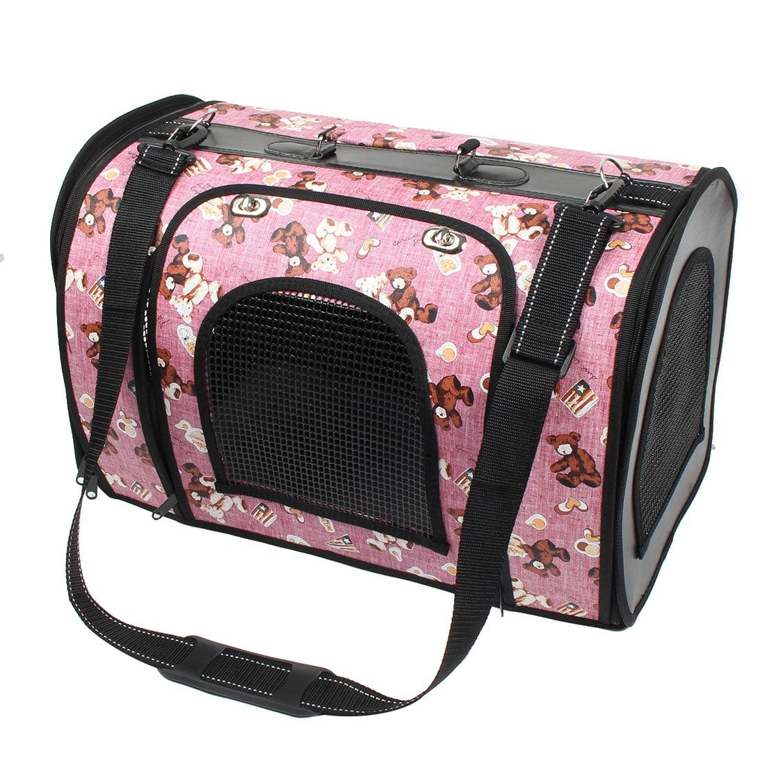 Travel Folding Bear Printed Meshy Zipper Pet Dog Carrier Cage Bag 47x26x33cm