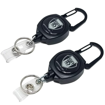 2 Pack - Heavy Duty Retractable Badge Reel with ID Holder Strap & Keychain - Strong Carabiner Belt Loop Clip - Retracting Lanyard with Kevlar Cord for Keys and Access Cards by Specialist ID (Black)
