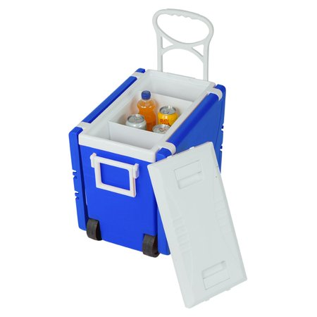 Ice Cooler, 2019 Upgraded Rolling Cooler with Foldable Picnic Table and 2 Portable Fishing Chair, 30-Quart Wheeled Cooler for Camping, BBQs, Tailgating & Outdoor Activities, Blue,