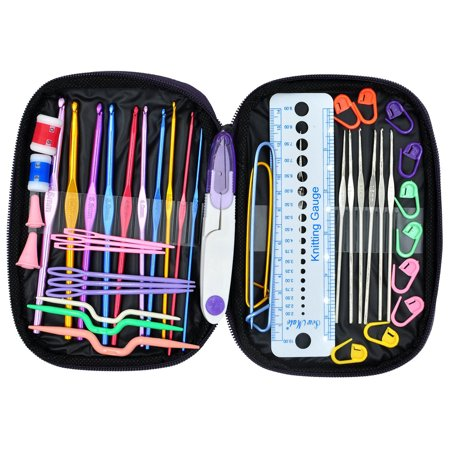 OldShark 49 Pieces Crochet Hooks Yarn Knitting Needles Sewing Tools Full Set Knit Gauge Scissors Stitch Holders - Crochet Fox