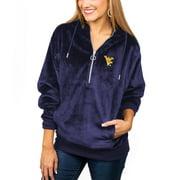 West Virginia Mountaineers Women's Plush Half-Zip Pullover Hoodie - Navy