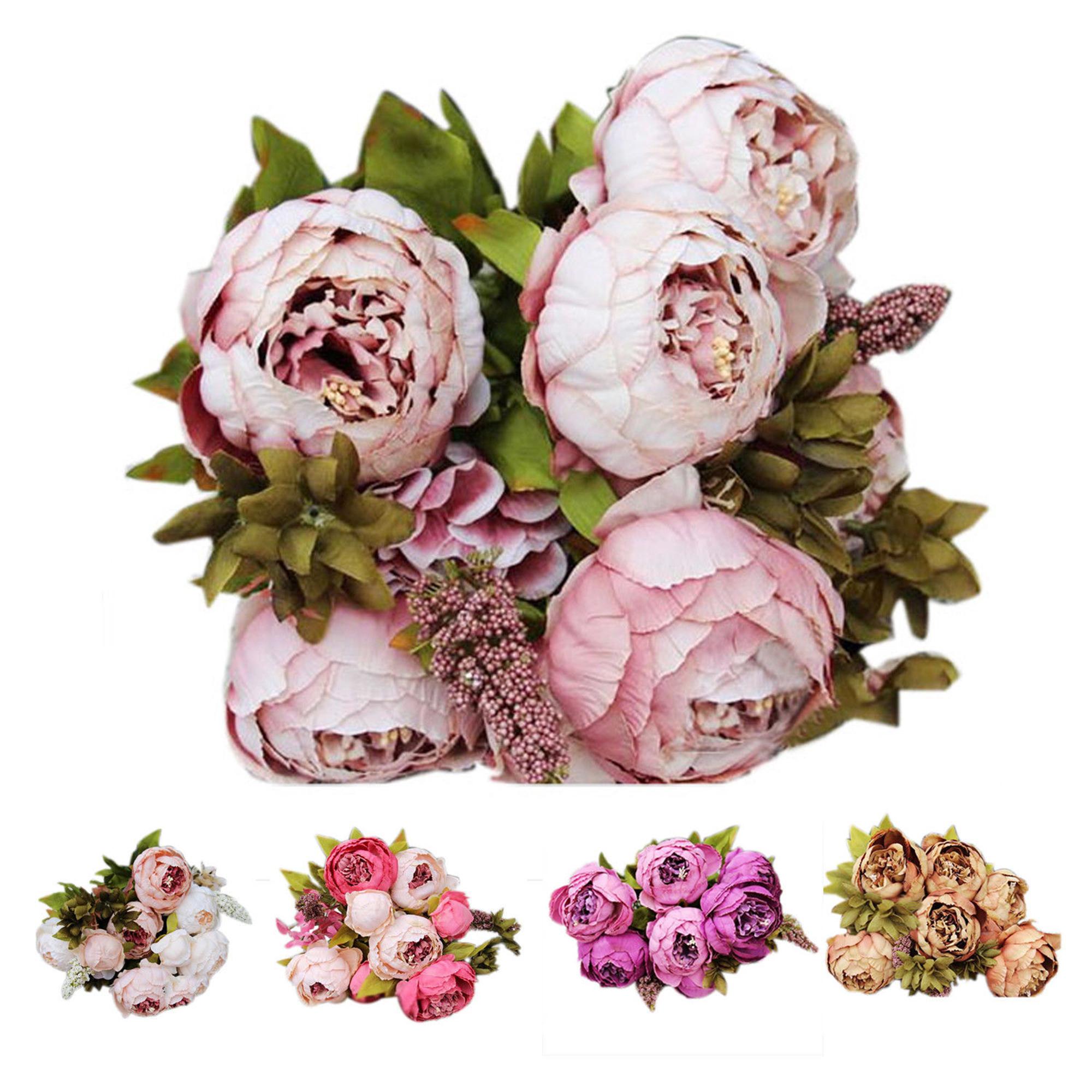 CUH Artificial Peony Bouquet Flower Arrangements Silk for Bedding Wedding Office Living Room Meeting Room Garden Floral