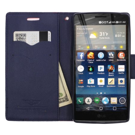 Insten Folio Leather Fabric Cover Credit Card Stand Case Lanyard for LG G Stylo / G Vista 2 - Red/Blue - image 1 de 4