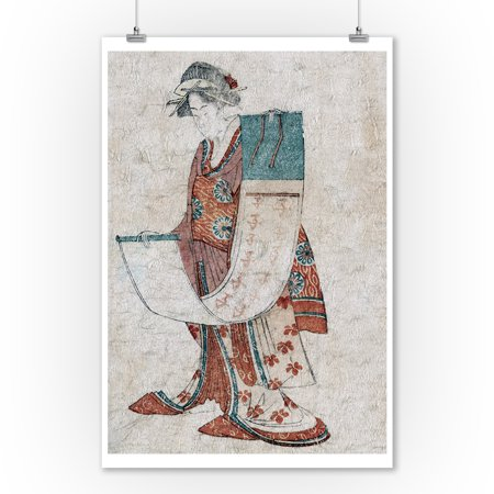 Beauty Holding a Calendar Scroll for the Year of the Rat Japanese Wood-Cut Print (9x12 Art Print, Wall Decor Travel Poster)