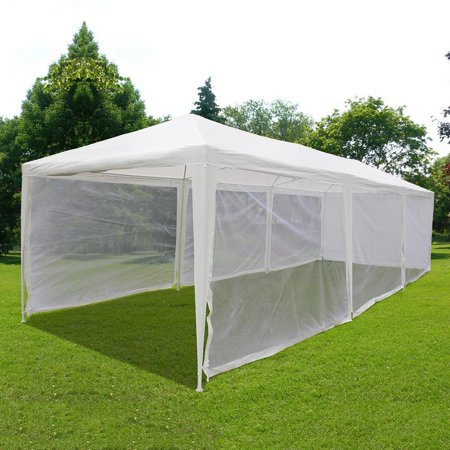 Quictent 10X30 Outdoor Canopy Gazebo Party Wedding tent Screen House Sun Shade Shelter with Fully Enclosed Mesh Side Wall (10'x30', (Mesh Side Wall)