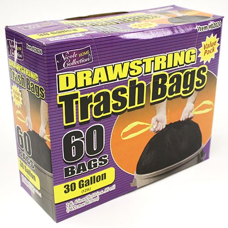 Nicole Home Collection Drawstring Trash Bags, Black, 30 Gallon, 60 Ct