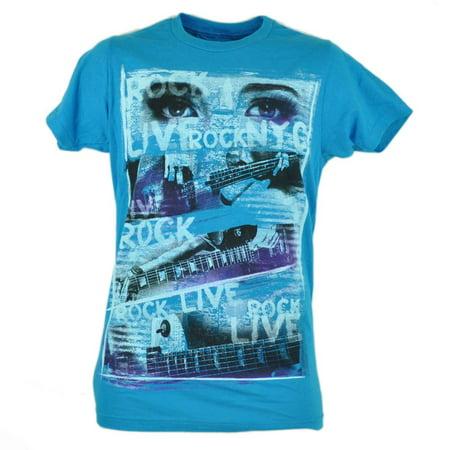 Live Rock Electric Guitar Instrument Music Blue Tshirt Tee Novelty Mens - Guitar Novelties