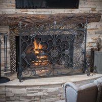 Noble House Crenshaw Iron Fireplace Screen, Silver Flower on Black