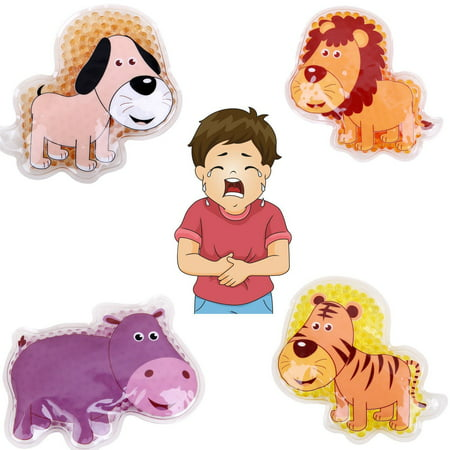 """FOMI Kids Fun Pain Relieving Hot Cold Boo Boos Ice Packs. 4-Pack. Animal Designs. Multi-Use Children's Gel Bead pack for Neck, Knee, Ankle, Arm, Hand, Thigh, Leg. (4"""" x 3"""""""