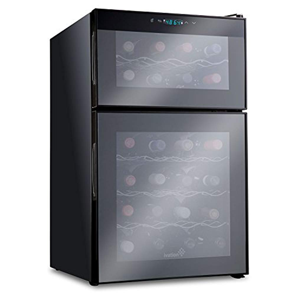 Ivation 24 Bottle Dual Zone Thermoelectric Freestanding Wine Cooler/Fridge - Black
