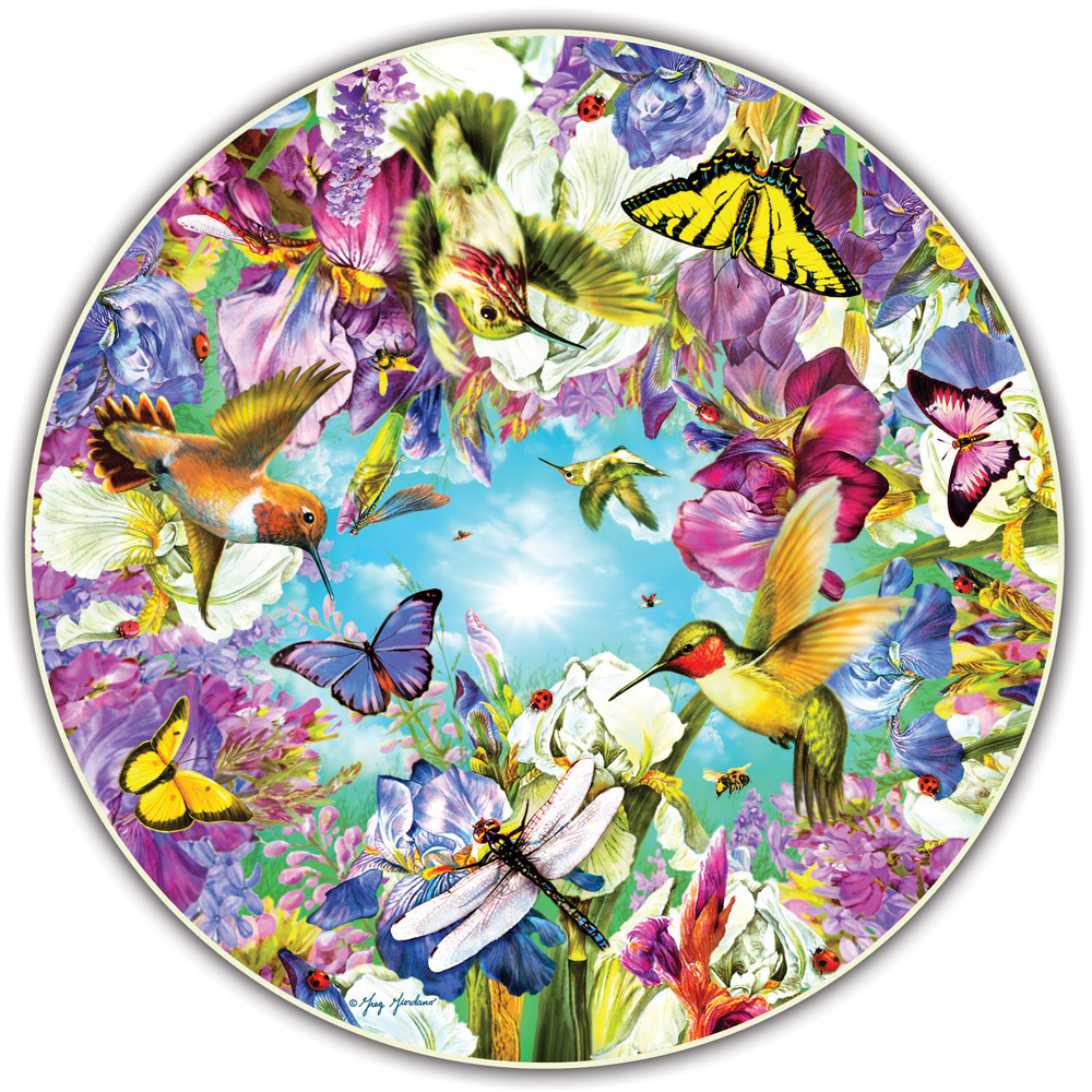 A Broader View's Round Table Puzzle Hummingbirds by Greg Giordano (500-piece) by A Broader View