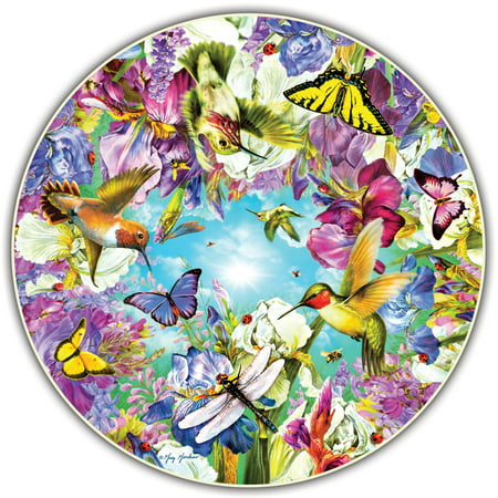 A Broader View's Round Table Puzzle - Hummingbirds by Greg Giordano (Blue Bird Puzzle)