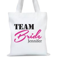 """Personalized Team Bride Tote Bag, Sizes 11"""" x 14"""" and 14.5"""" x 18"""""""