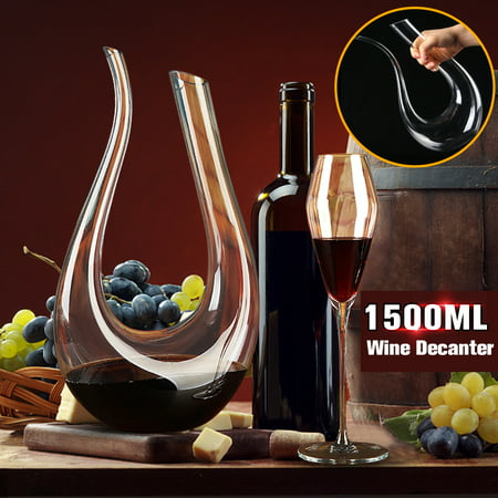 1500ML Luxurious Crystal Glass U-shaped Horn Wine Decanter Wine Pourer Container Handle Lead Free Horn Kitchen & Dining Red Wine (Crystal Classic Decanter)