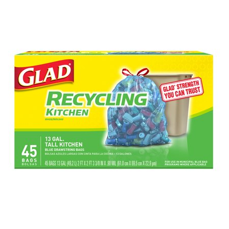 - Glad Recycling Tall Drawstring Kitchen Blue Trash Bags - 13 gal - 45 ct